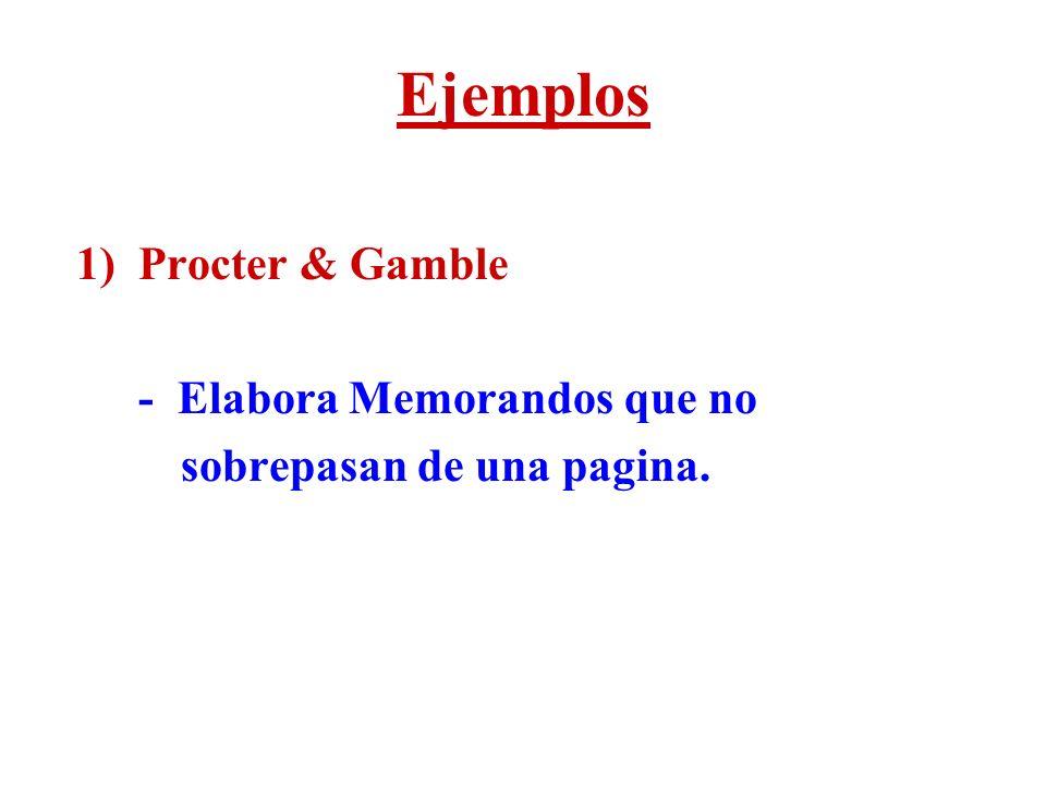 Ejemplos 1) Procter & Gamble - Elabora Memorandos que no sobrepasan de una pagina.