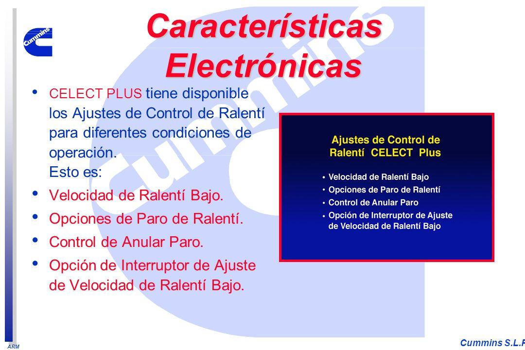 ARM Cummins S.L.P. CELECT PLUS tiene disponible los Ajustes de Control de Ralentí para diferentes condiciones de operación. Esto es: Velocidad de Rale