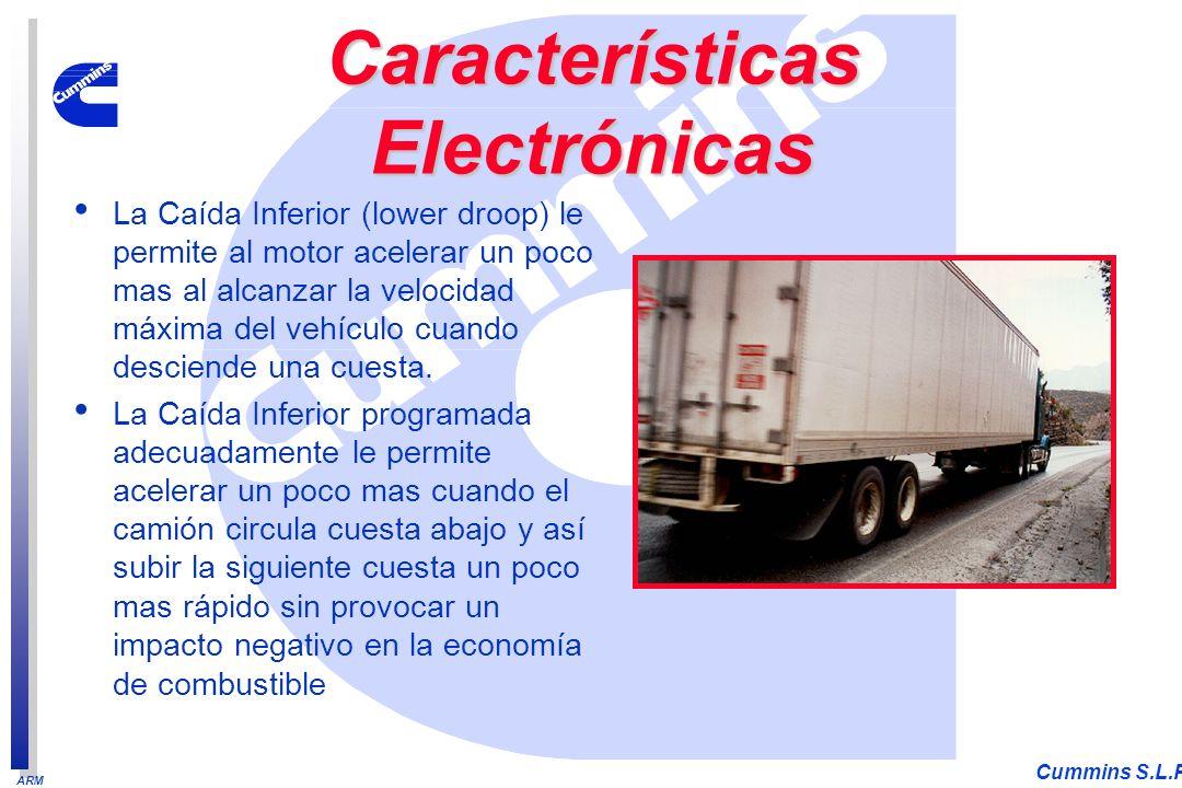 ARM Cummins S.L.P. La Caída Inferior (lower droop) le permite al motor acelerar un poco mas al alcanzar la velocidad máxima del vehículo cuando descie