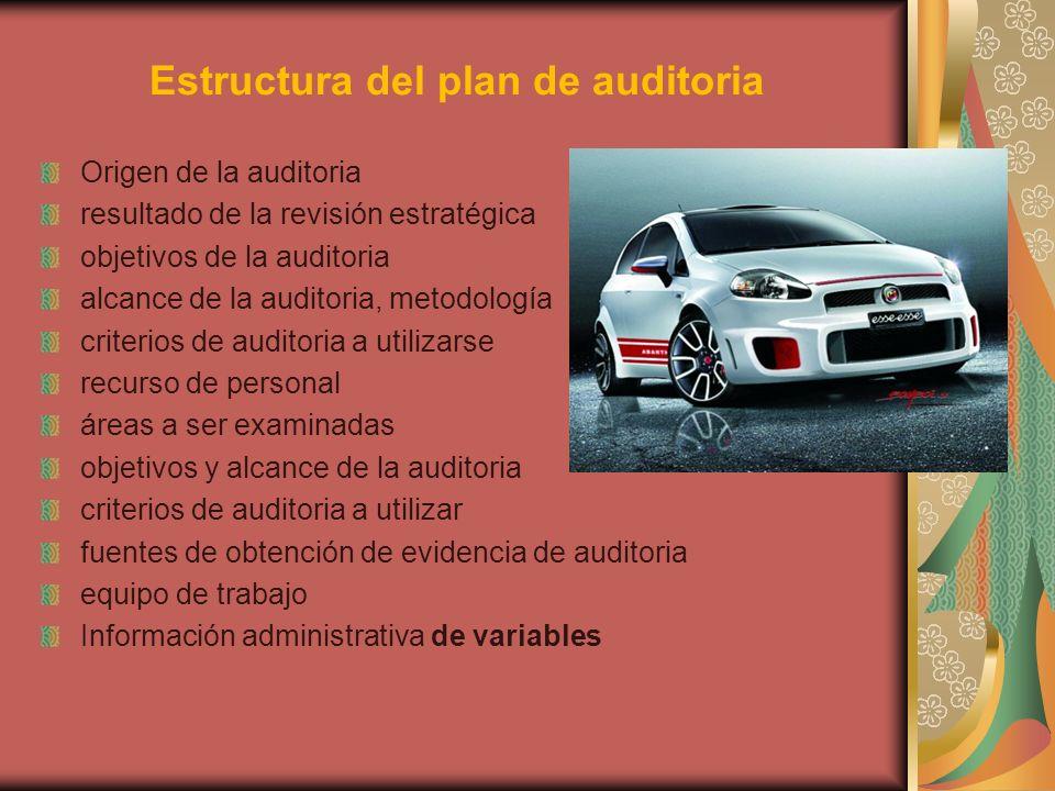 Estructura del plan de auditoria Origen de la auditoria resultado de la revisión estratégica objetivos de la auditoria alcance de la auditoria, metodo