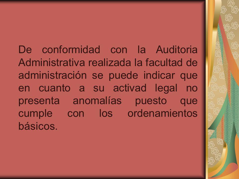 De conformidad con la Auditoria Administrativa realizada la facultad de administración se puede indicar que en cuanto a su activad legal no presenta a