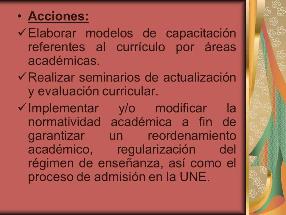 Acciones: Elaborar modelos de capacitación referentes al currículo por áreas académicas. Realizar seminarios de actualización y evaluación curricular.