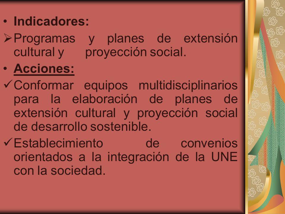 Indicadores: Programas y planes de extensión cultural y proyección social. Acciones: Conformar equipos multidisciplinarios para la elaboración de plan