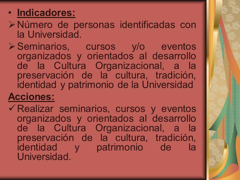 Indicadores: Número de personas identificadas con la Universidad. Seminarios, cursos y/o eventos organizados y orientados al desarrollo de la Cultura