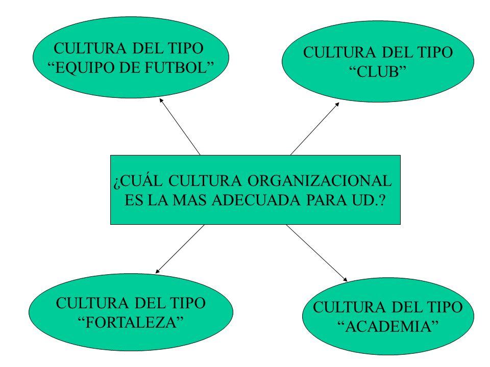 CULTURA DEL TIPO EQUIPO DE FUTBOL CULTURA DEL TIPO CLUB CULTURA DEL TIPO FORTALEZA CULTURA DEL TIPO ACADEMIA ¿CUÁL CULTURA ORGANIZACIONAL ES LA MAS AD