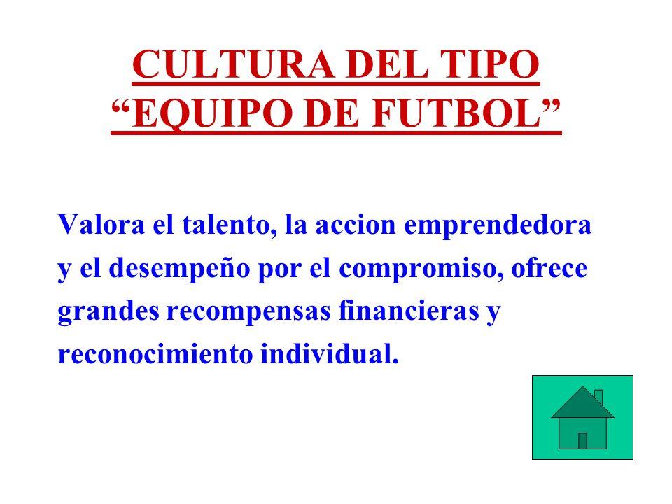 CULTURA DEL TIPO EQUIPO DE FUTBOL Valora el talento, la accion emprendedora y el desempeño por el compromiso, ofrece grandes recompensas financieras y