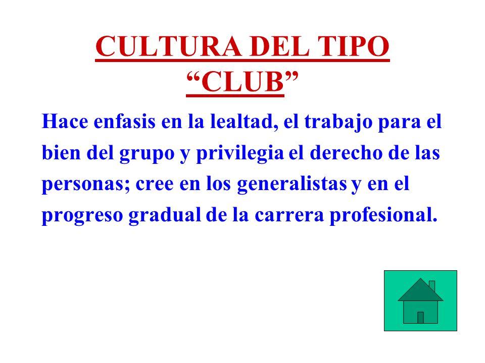 CULTURA DEL TIPO CLUB Hace enfasis en la lealtad, el trabajo para el bien del grupo y privilegia el derecho de las personas; cree en los generalistas