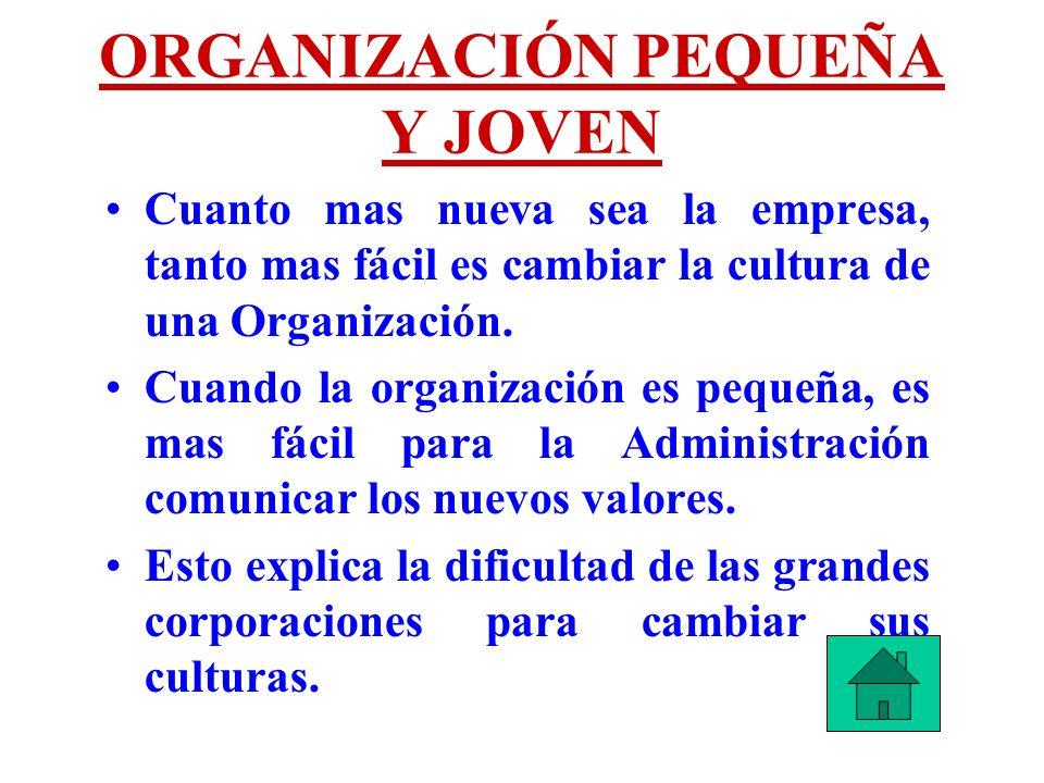 ORGANIZACIÓN PEQUEÑA Y JOVEN Cuanto mas nueva sea la empresa, tanto mas fácil es cambiar la cultura de una Organización. Cuando la organización es peq