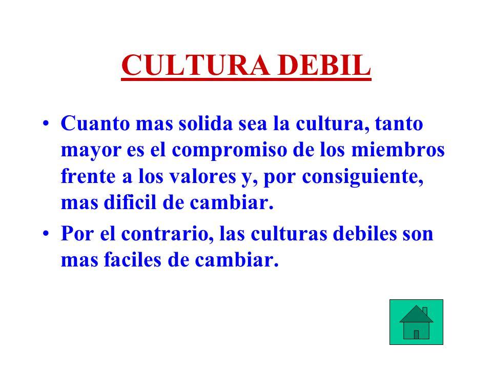 CULTURA DEBIL Cuanto mas solida sea la cultura, tanto mayor es el compromiso de los miembros frente a los valores y, por consiguiente, mas dificil de