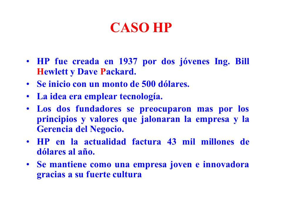 CASO HP HP fue creada en 1937 por dos jóvenes Ing. Bill Hewlett y Dave Packard. Se inicio con un monto de 500 dólares. La idea era emplear tecnología.