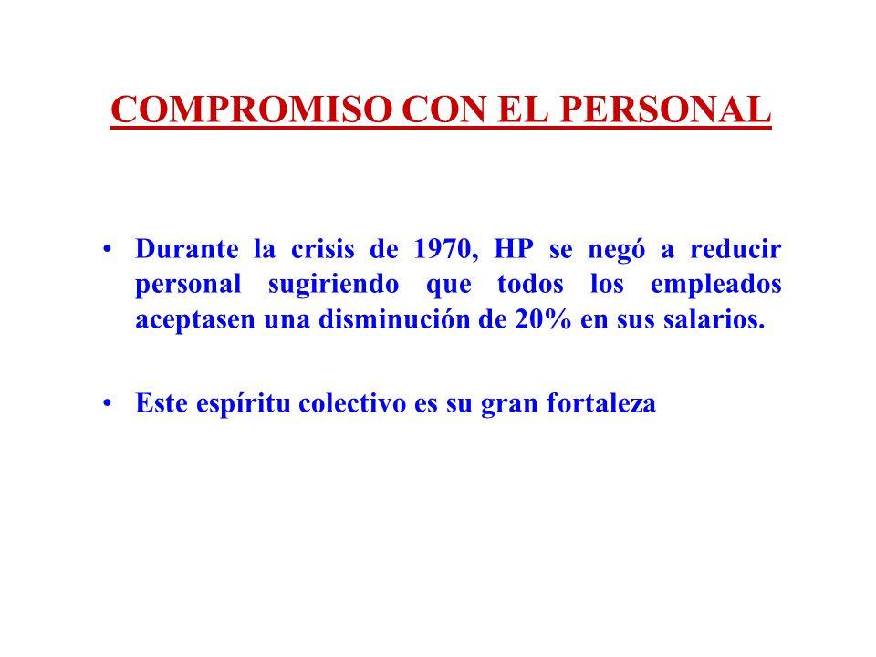 COMPROMISO CON EL PERSONAL Durante la crisis de 1970, HP se negó a reducir personal sugiriendo que todos los empleados aceptasen una disminución de 20