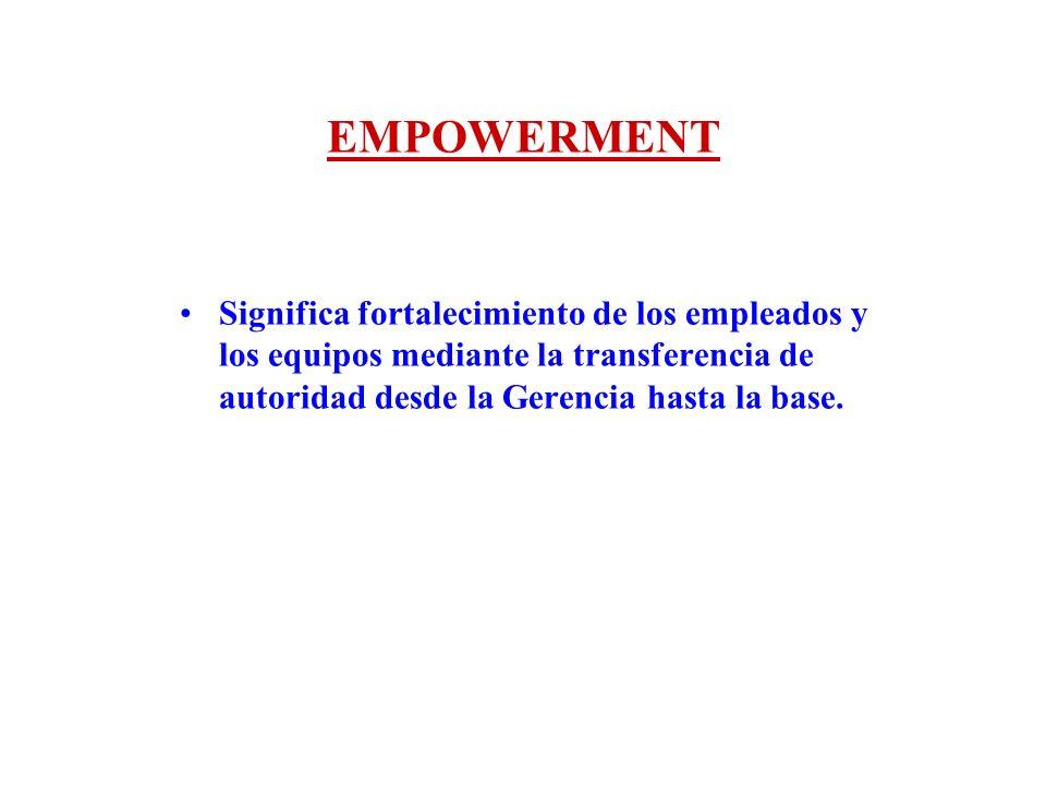 EMPOWERMENT Significa fortalecimiento de los empleados y los equipos mediante la transferencia de autoridad desde la Gerencia hasta la base.