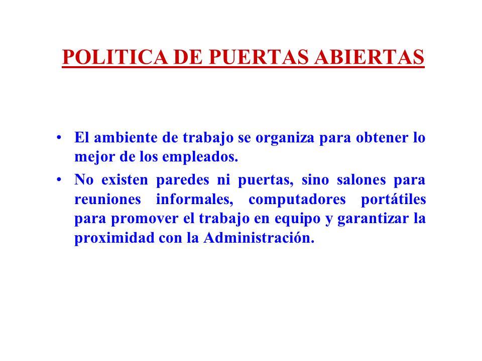 POLITICA DE PUERTAS ABIERTAS El ambiente de trabajo se organiza para obtener lo mejor de los empleados. No existen paredes ni puertas, sino salones pa