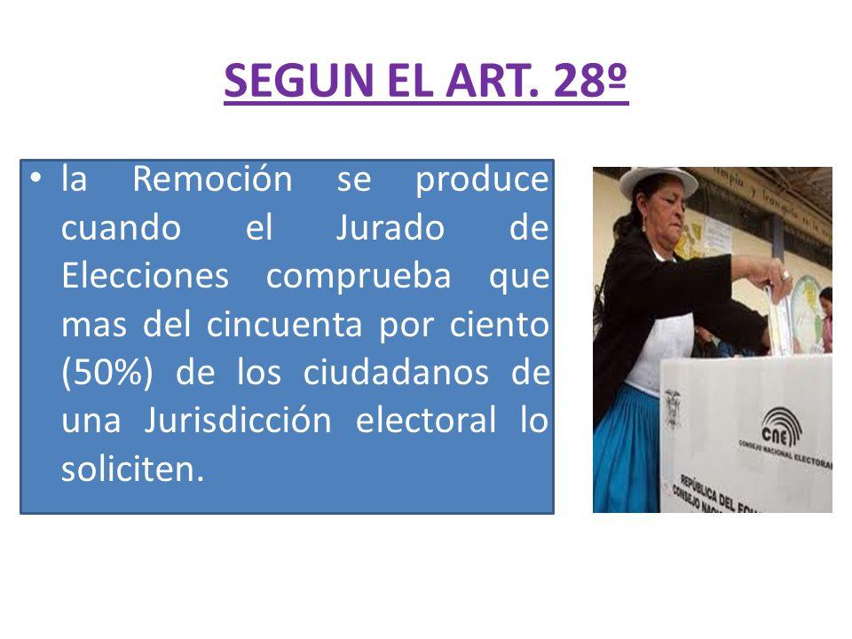 SEGUN EL ART. 28º la Remoción se produce cuando el Jurado de Elecciones comprueba que mas del cincuenta por ciento (50%) de los ciudadanos de una Juri
