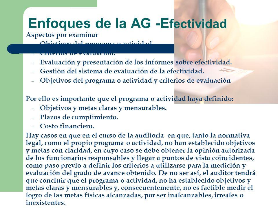 Enfoques de la AG -E fectividad Aspectos por examinar – Objetivos del programa o actividad. – Criterios de evaluación. – Evaluación y presentación de