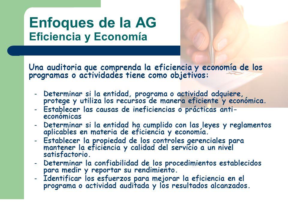 Enfoques de la AG Eficiencia y Economía Una auditoria que comprenda la eficiencia y economía de los programas o actividades tiene como objetivos: – De