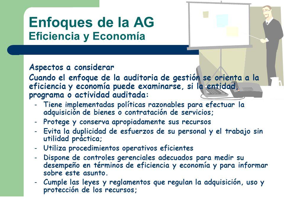 Enfoques de la AG Eficiencia y Economía Aspectos a considerar Cuando el enfoque de la auditoria de gestión se orienta a la eficiencia y economía puede