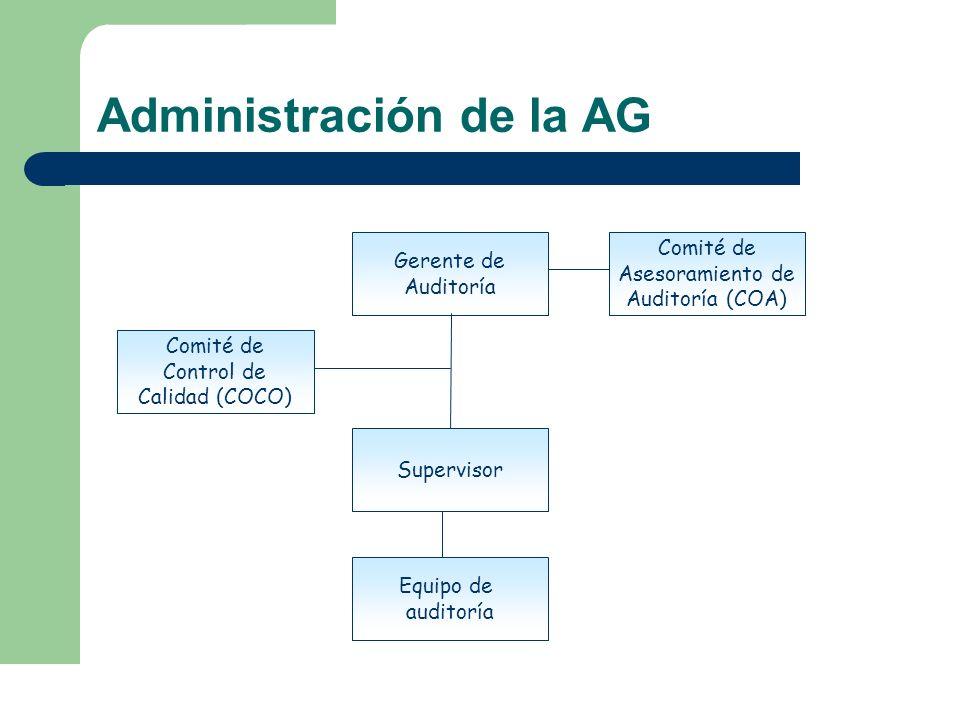 Administración de la AG Gerente de Auditoría Comité de Asesoramiento de Auditoría (COA) Comité de Control de Calidad (COCO) Equipo de auditoría Superv