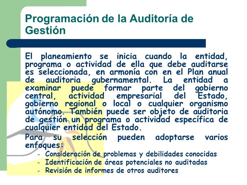 Programación de la Auditoría de Gestión El planeamiento se inicia cuando la entidad, programa o actividad de ella que debe auditarse es seleccionada,