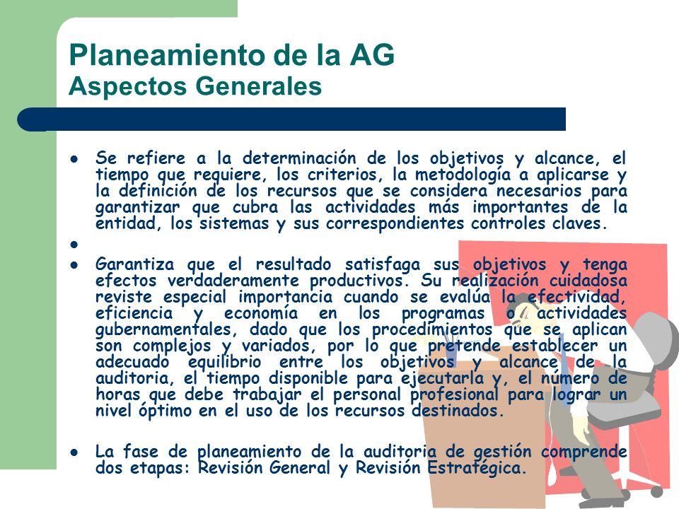 Planeamiento de la AG Aspectos Generales Se refiere a la determinación de los objetivos y alcance, el tiempo que requiere, los criterios, la metodolog