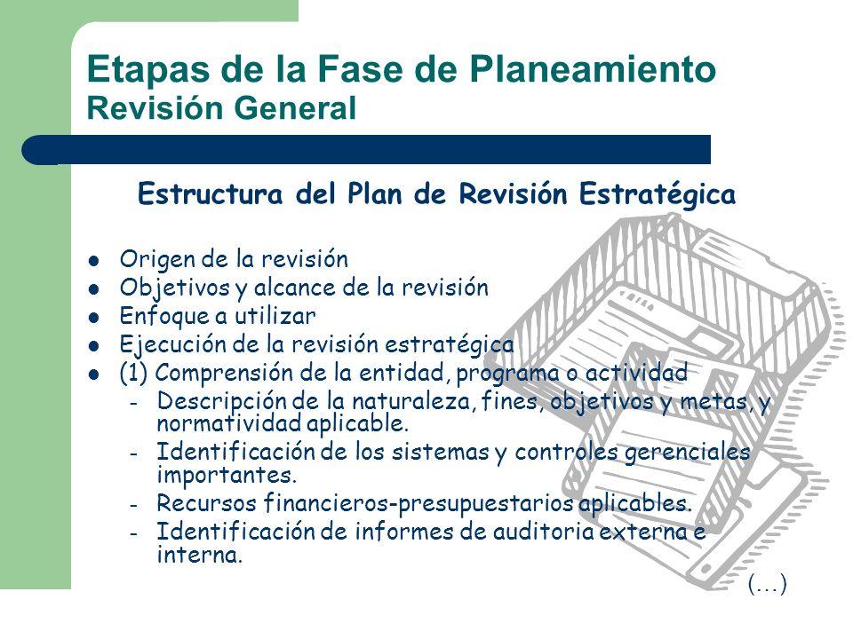 Estructura del Plan de Revisión Estratégica Origen de la revisión Objetivos y alcance de la revisión Enfoque a utilizar Ejecución de la revisión estra