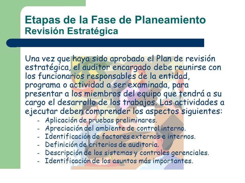 Etapas de la Fase de Planeamiento Revisión Estratégica Una vez que haya sido aprobado el Plan de revisión estratégica, el auditor encargado debe reuni