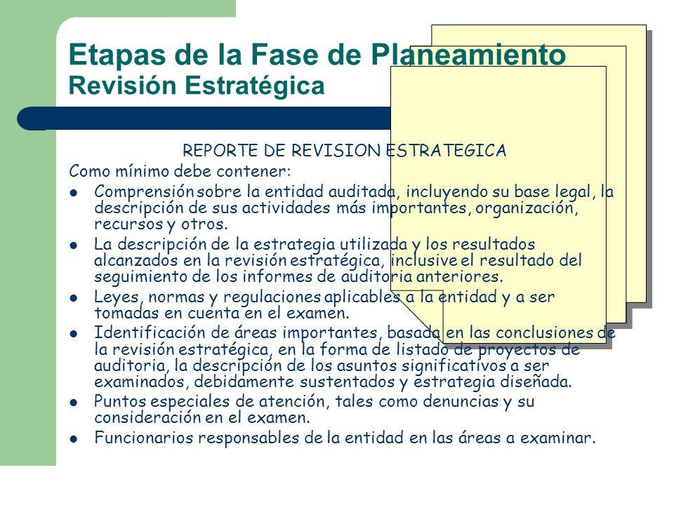 REPORTE DE REVISION ESTRATEGICA Como mínimo debe contener: Comprensión sobre la entidad auditada, incluyendo su base legal, la descripción de sus acti