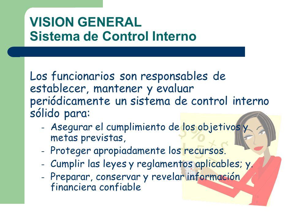 VISION GENERAL Sistema de Control Interno Los funcionarios son responsables de establecer, mantener y evaluar periódicamente un sistema de control int