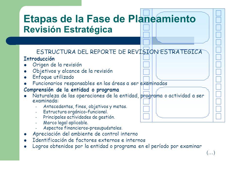 ESTRUCTURA DEL REPORTE DE REVISION ESTRATEGICA Introducción Origen de la revisión Objetivos y alcance de la revisión Enfoque utilizado Funcionarios re