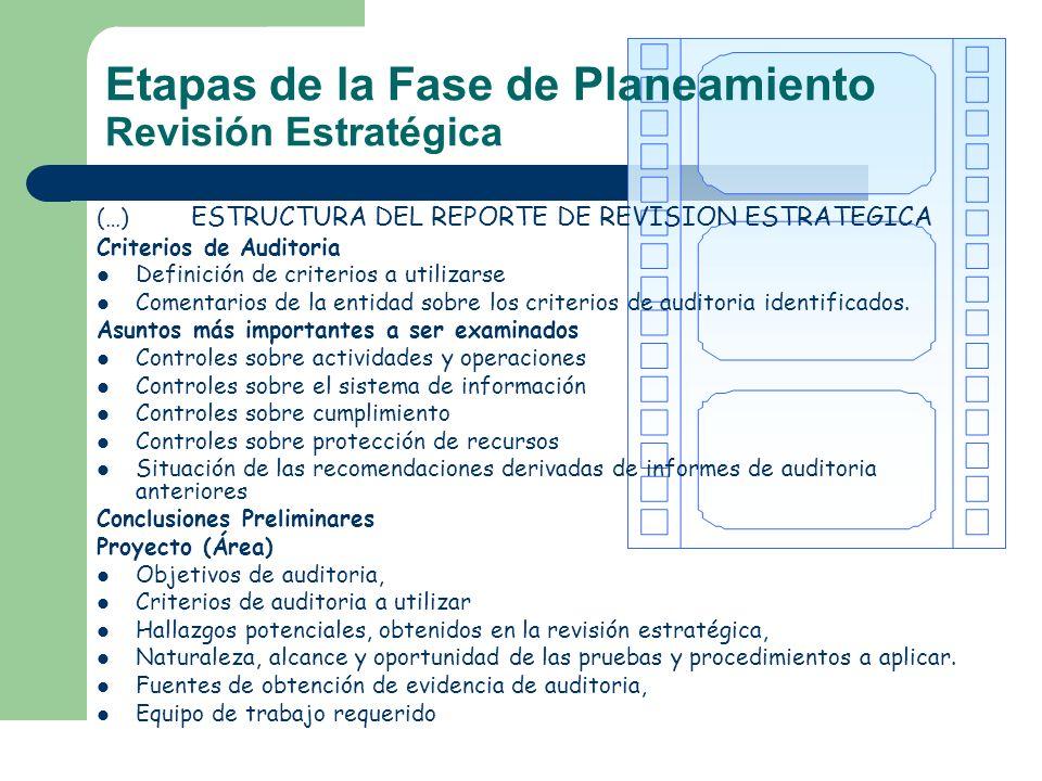(…) ESTRUCTURA DEL REPORTE DE REVISION ESTRATEGICA Criterios de Auditoria Definición de criterios a utilizarse Comentarios de la entidad sobre los cri
