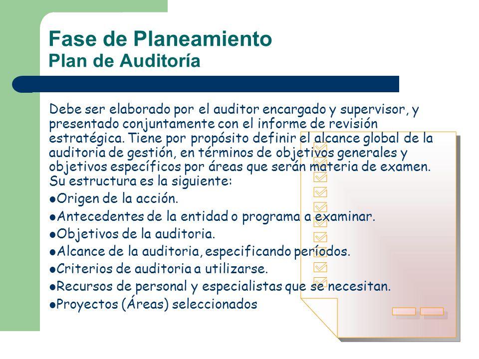 Fase de Planeamiento Plan de Auditoría Debe ser elaborado por el auditor encargado y supervisor, y presentado conjuntamente con el informe de revisión
