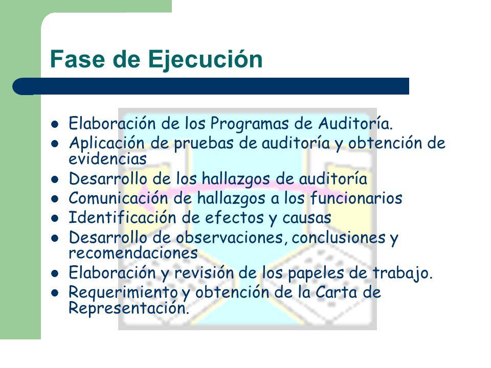 Fase de Ejecución Elaboración de los Programas de Auditoría. Aplicación de pruebas de auditoría y obtención de evidencias Desarrollo de los hallazgos