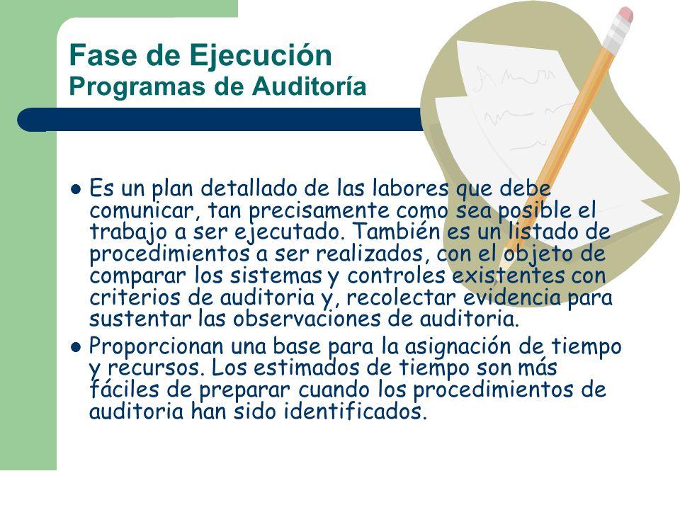 Fase de Ejecución Programas de Auditoría Es un plan detallado de las labores que debe comunicar, tan precisamente como sea posible el trabajo a ser ej