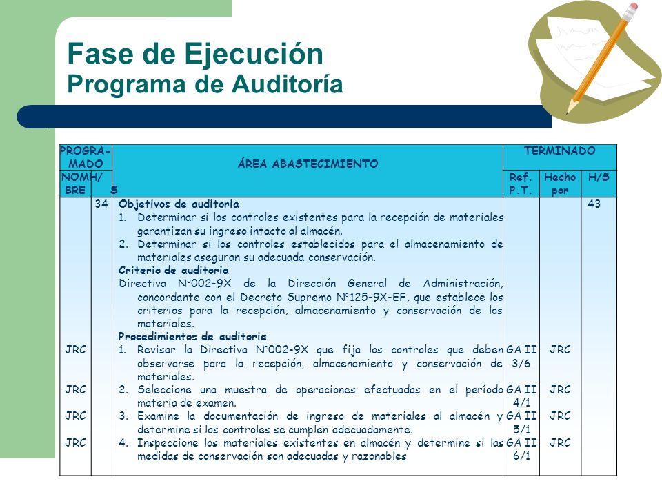 Fase de Ejecución Programa de Auditoría PROGRA- MADOÁREA ABASTECIMIENTO TERMINADO NOM BRE H/ S Ref. P.T. Hecho por H/S JRC 34Objetivos de auditoria 1.