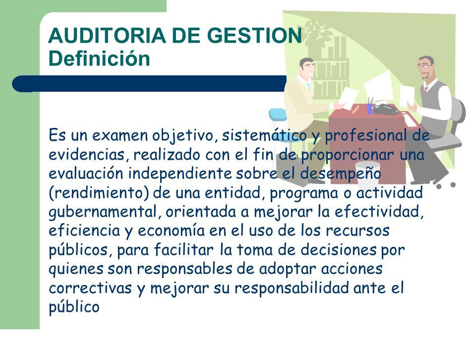 AUDITORIA DE GESTION Definición Es un examen objetivo, sistemático y profesional de evidencias, realizado con el fin de proporcionar una evaluación in