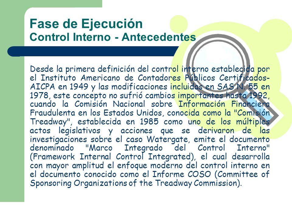 Fase de Ejecución Control Interno - Antecedentes Desde la primera definición del control interno establecida por el Instituto Americano de Contadores