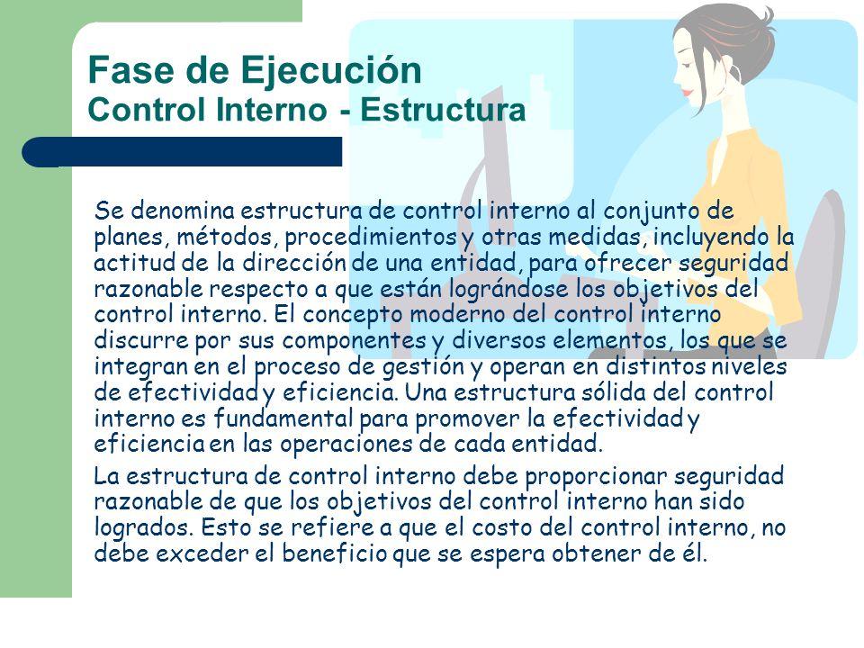 Fase de Ejecución Control Interno - Estructura Se denomina estructura de control interno al conjunto de planes, métodos, procedimientos y otras medida