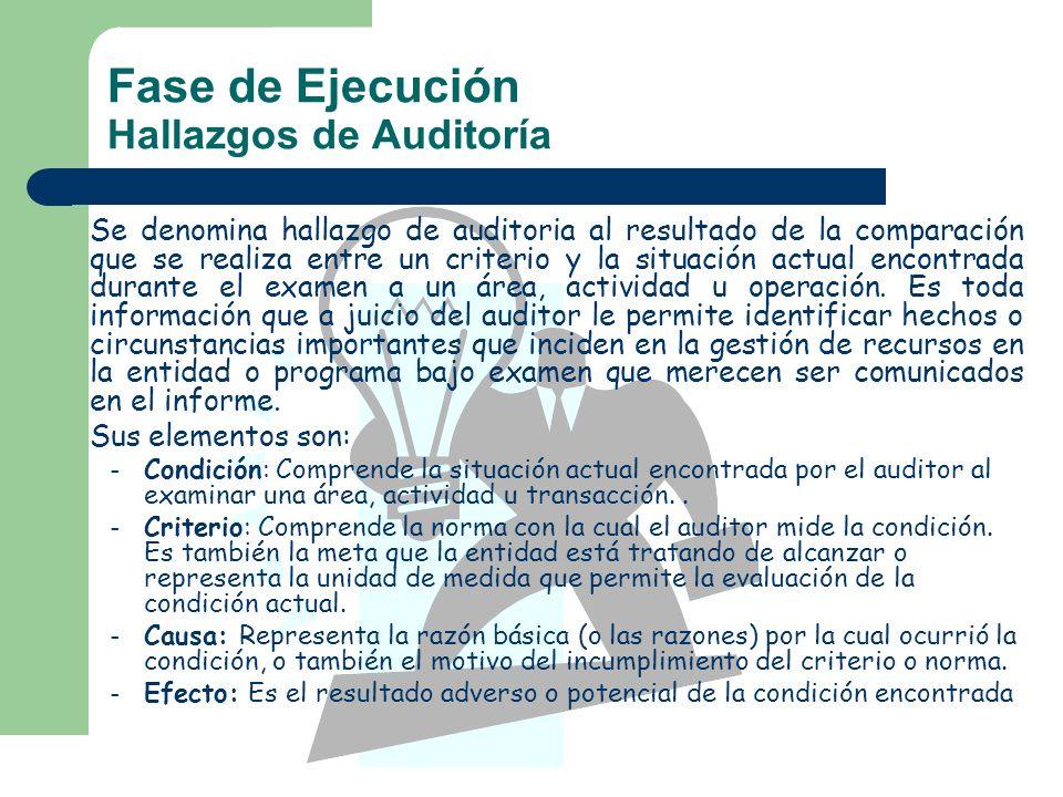Fase de Ejecución Hallazgos de Auditoría Se denomina hallazgo de auditoria al resultado de la comparación que se realiza entre un criterio y la situac