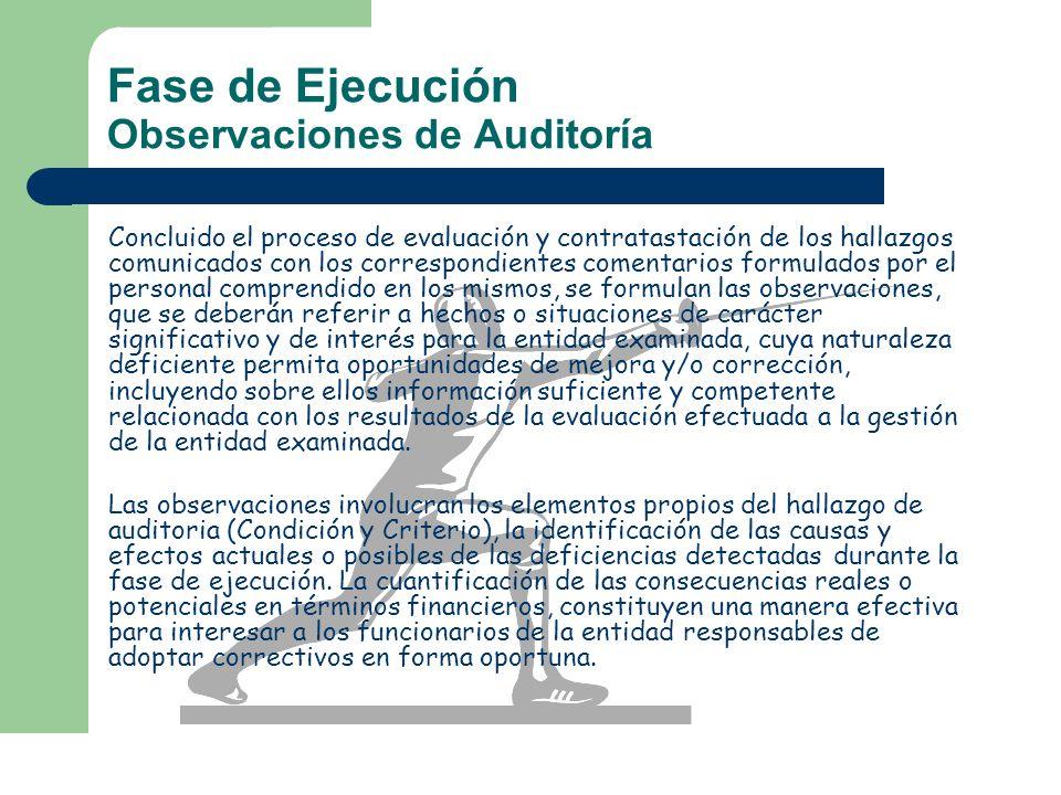 Fase de Ejecución Observaciones de Auditoría Concluido el proceso de evaluación y contratastación de los hallazgos comunicados con los correspondiente