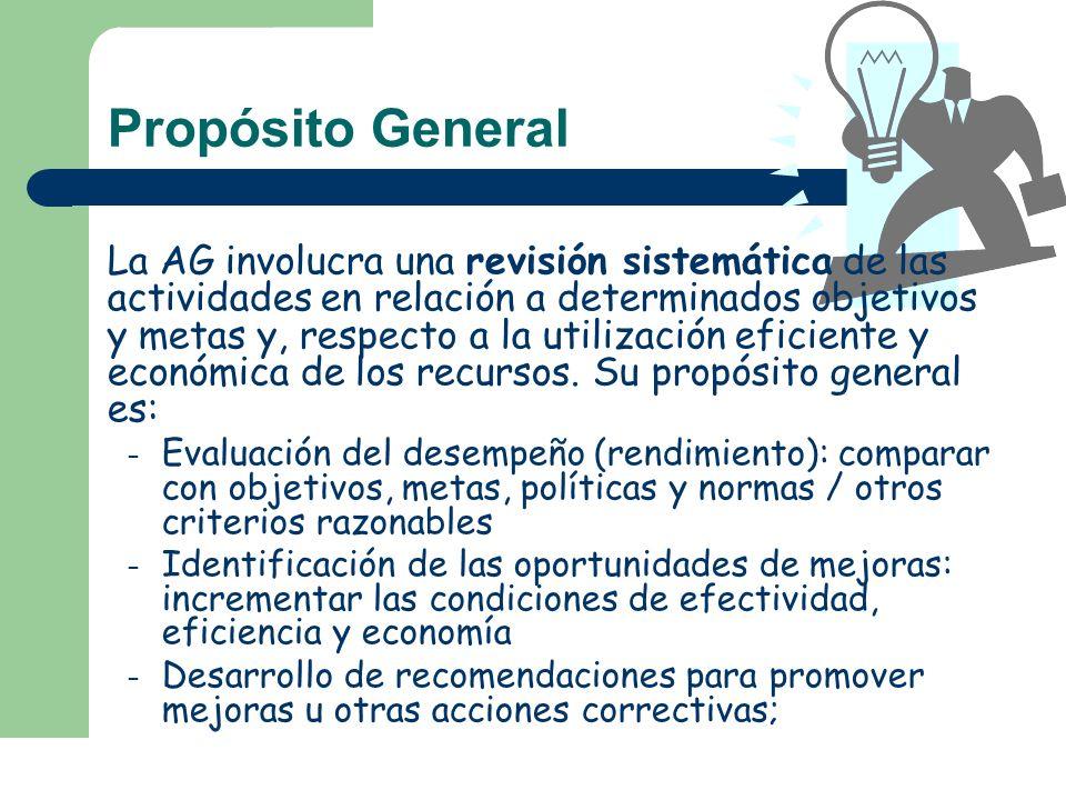 Objetivos de la AG Determinar el grado en que se están logrando los resultados o beneficios previstos por la normativa legal, por la propia entidad, el programa o actividad pertinente.