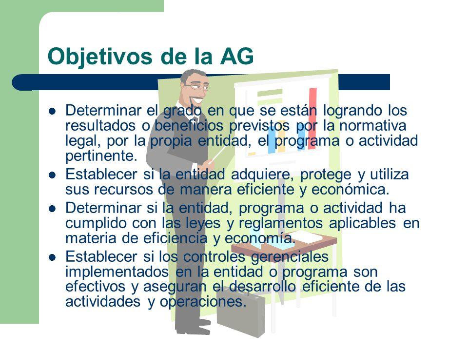 Objetivos de la AG Determinar el grado en que se están logrando los resultados o beneficios previstos por la normativa legal, por la propia entidad, e