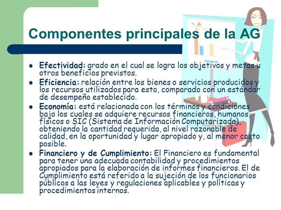 Componentes principales de la AG Efectividad: grado en el cual se logra los objetivos y metas u otros beneficios previstos. Eficiencia: relación entre