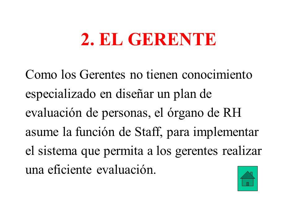 2. EL GERENTE Como los Gerentes no tienen conocimiento especializado en diseñar un plan de evaluación de personas, el órgano de RH asume la función de