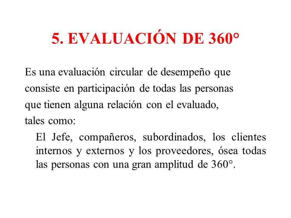 5. EVALUACIÓN DE 360° Es una evaluación circular de desempeño que consiste en participación de todas las personas que tienen alguna relación con el ev