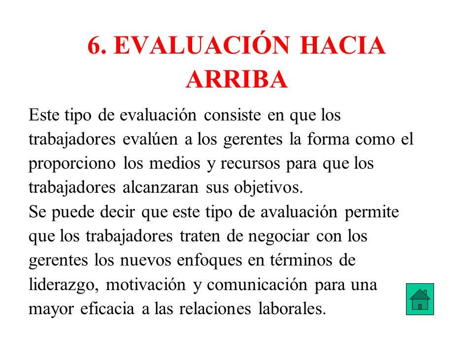 6. EVALUACIÓN HACIA ARRIBA Este tipo de evaluación consiste en que los trabajadores evalúen a los gerentes la forma como el proporciono los medios y r