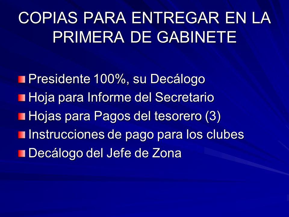 COPIAS PARA ENTREGAR EN LA PRIMERA DE GABINETE Presidente 100%, su Decálogo Hoja para Informe del Secretario Hojas para Pagos del tesorero (3) Instrucciones de pago para los clubes Decálogo del Jefe de Zona