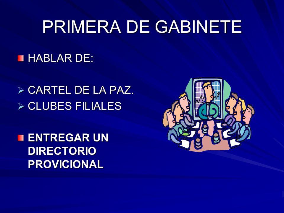 PRIMERA DE GABINETE HABLAR DE: CARTEL DE LA PAZ. CARTEL DE LA PAZ.
