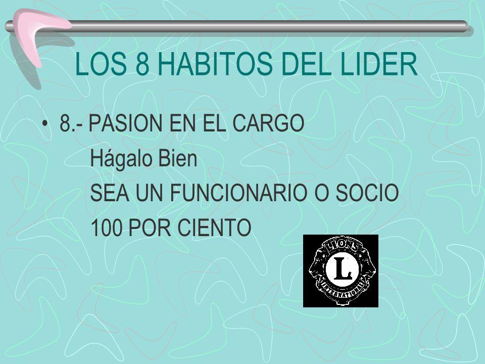 LOS 8 HABITOS DEL LIDER 8.- PASION EN EL CARGO Hágalo Bien SEA UN FUNCIONARIO O SOCIO 100 POR CIENTO