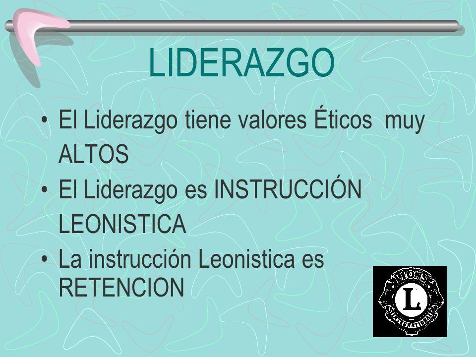 LIDERAZGO El Liderazgo tiene valores Éticos muy ALTOS El Liderazgo es INSTRUCCIÓN LEONISTICA La instrucción Leonistica es RETENCION