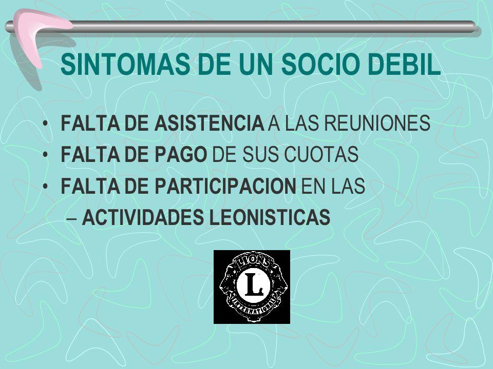 SINTOMAS DE UN SOCIO DEBIL FALTA DE ASISTENCIA A LAS REUNIONES FALTA DE PAGO DE SUS CUOTAS FALTA DE PARTICIPACION EN LAS – ACTIVIDADES LEONISTICAS